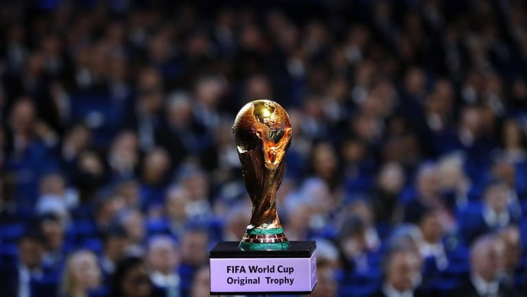 The Russia World Cup is placed on display during the 2018 soccer World Cup draw in the Kremlin in Moscow. .