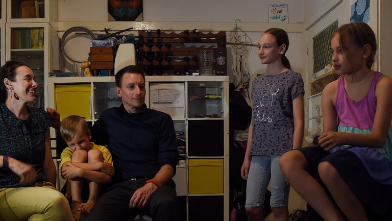 The Ruys family in the lounge room of the family apartment they rent in Randwick, Sydney. (L to R) Claire Boswell-Ruys, Sam Ruys, 8, Dave Ruys, Adelle Ruys 12 and Maya Ruys 10.