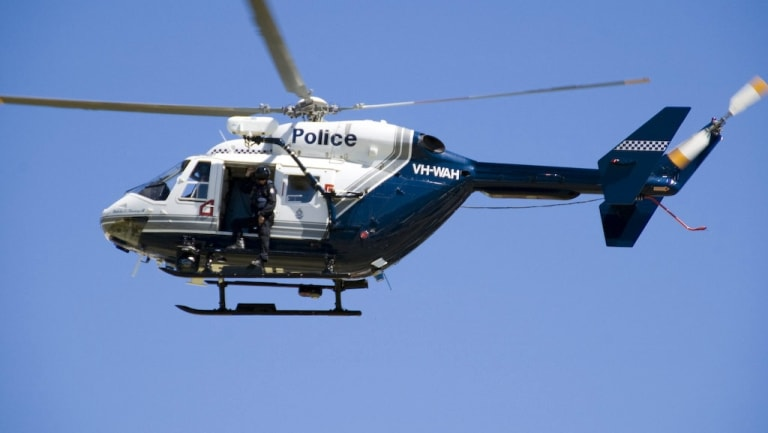 One of the WA Police helicopters in full flight.