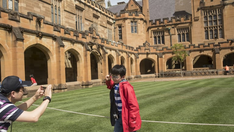 A man forming part of a Chinese tour group takes a photo of his son at the University of Sydney.