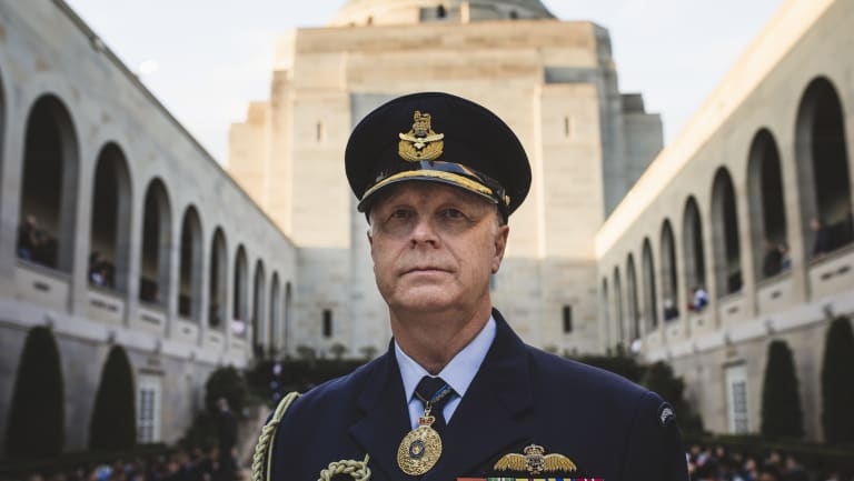The outgoing chief of the Australian Defence Force, Air Chief Marshal Mark Binskin, at the Australian War Memorial on Thursday.