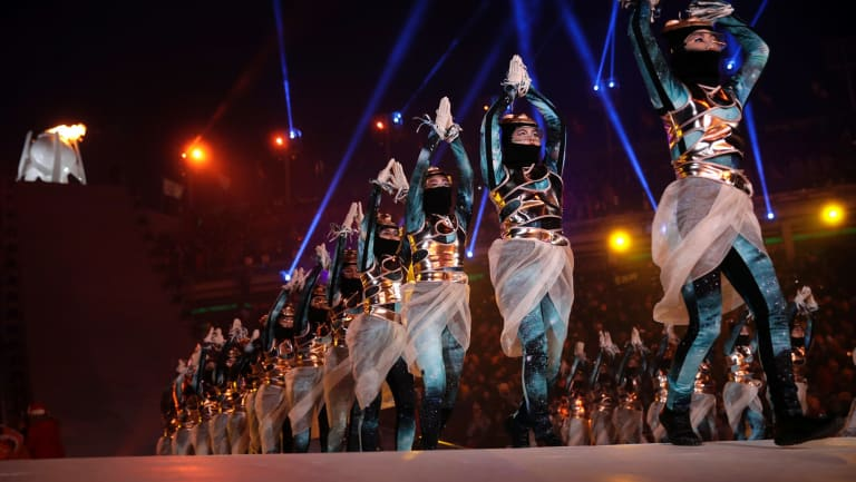 Dancers perform at the end of the opening ceremony of the 2018 Winter Olympics in Pyeongchang, South Korea.
