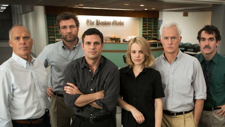 The Spotlight cast: From left, Michael Keaton, Liev Schreiber, Mark Ruffalo, Rachel McAdams, John Slattery and Brian d'Arcy James.