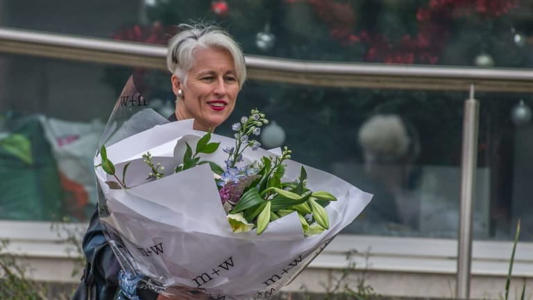 Genevieve Jacobs on her last day at ABC Radio Canberra last year.  Ratings for the Mornings program have fallen since she left.