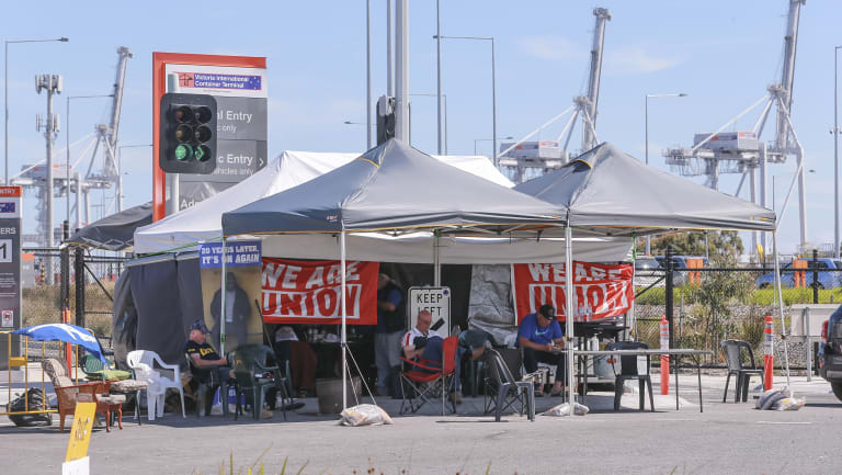 The scene of the blockade at the Melbourne waterfront.
