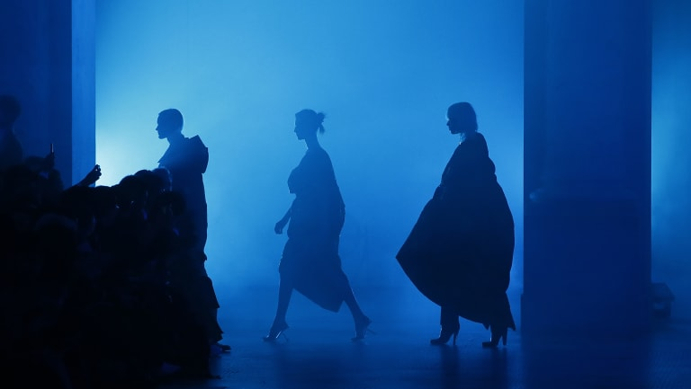 Models wear creations for Poiret's Paris presentation to mark the return of the brand after a 90-year dormancy.