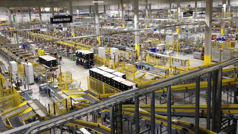 An Amazon warehouse in Germany. The company's Australian warehouse will soon house third-party sellers' goods.