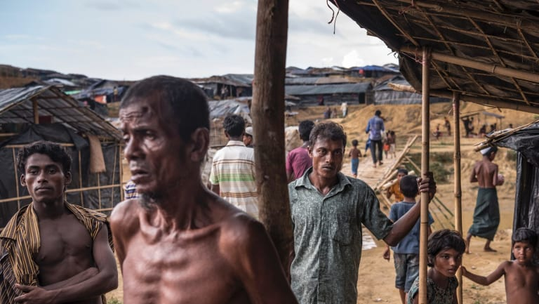 Rohingya refugees outside Cox's Bazaar in Bangladesh.