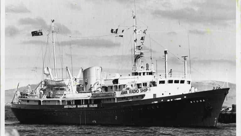 The Wyuna in an earlier guise as a training and radio ship. She is now stranded in Tasmania.