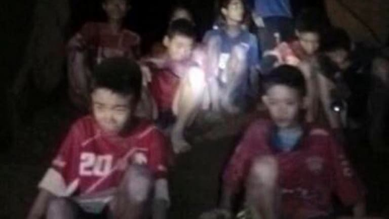 The boys and their soccer coach as they were found in a partially flooded cave, in Mae Sai, Chiang Rai, Thailand.
