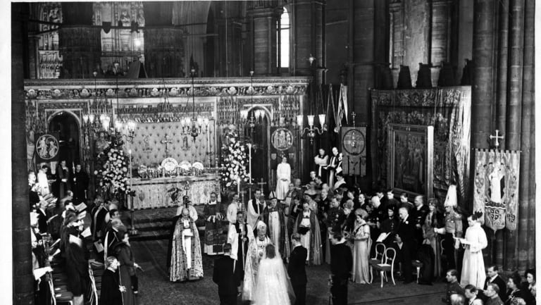 The scene in Westminster Abbey at the marriage of Queen Elizabeth II and the Duke of Edinburgh.