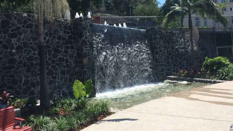 The fountain at Emma Miller Place was restored in 2015.