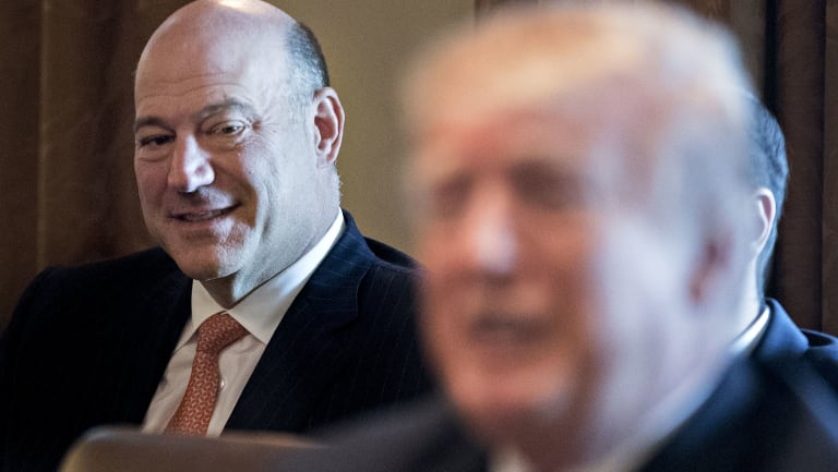 Gary Cohn, outgoing director of the US National Economic Council, listens to Trump, on Thursday.