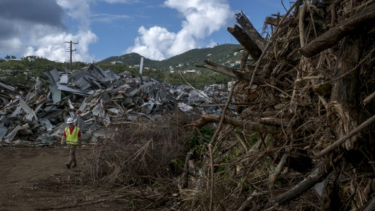 Piles of debris are seen in St. Thomas, US Virgin Islands last month.