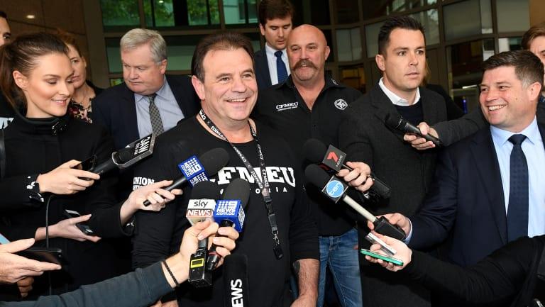 CFMEU Victorian officials John Setka (C), and Shaun Reardon (R) outside Melbourne Magistrates Court