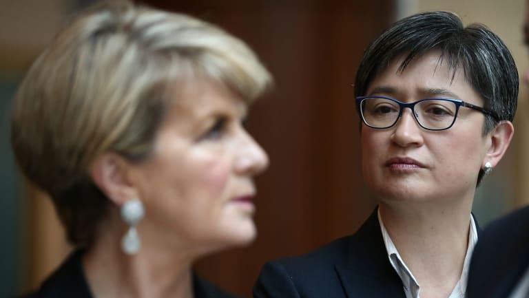 Foreign Minister Julie Bishop and Senator Penny Wong in Canberra.