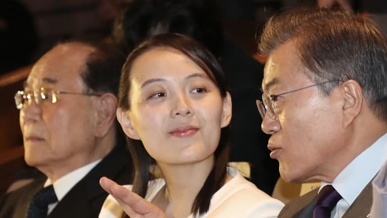 Moon Jae-in, right, talks with Kim Yo-jong, centre, ,during the Winter Olympics.
