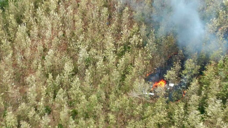 Costa Rica's Public Safety Ministry shows smoke rising from the site of the plane crash.