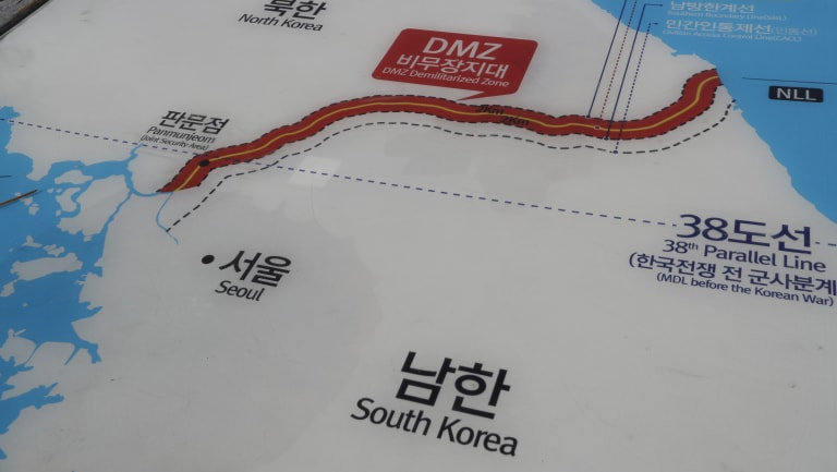 The demilitarised zone in red between the two Koreas.
