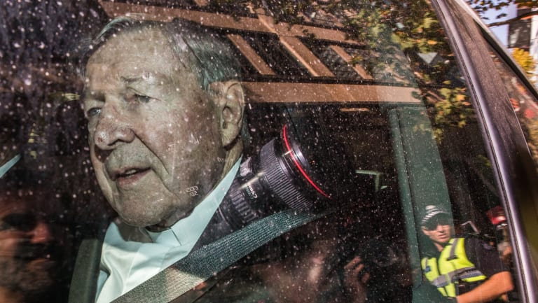 Cardinal Pell leaving the Melbourne Magistrates Court on Tuesday.