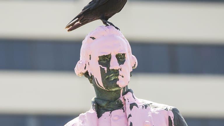 The Captain Cook statue in Saint Kilda was vandalised overnight.
