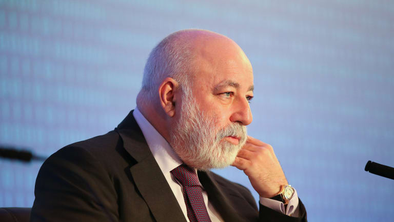 Viktor Vekselberg, billionaire and chairman of Renvova Management AG, sits on a panel at the Russian Union of Industrialists and Entrepreneurs in Moscow, Russia.