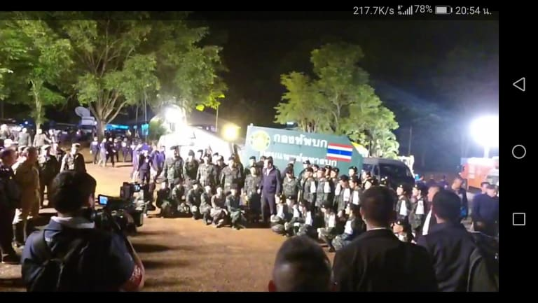Thai Prime Minister Prayuth Chan-o-cha visiting the rescue site.
