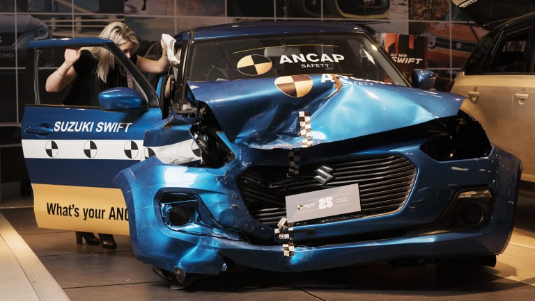 A crash test vehicle that got five stars in a high-speed crash test is on display in a new car showroom in Kirrawee.