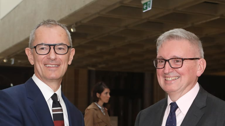 Michael Brand, director of the Art Gallery of NSW, and Don Harwin, NSW Minister for the Arts.