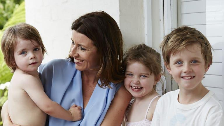 Prue Gilbert with her three children.