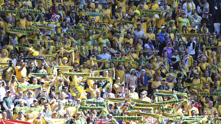 Australian fans cheer prior to the group C match between France and Australia at the 2018 soccer World Cup in the Kazan Arena in Kazan, Russia,