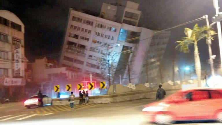 Buildings collapsed across eastern Taiwan following the earthquake.