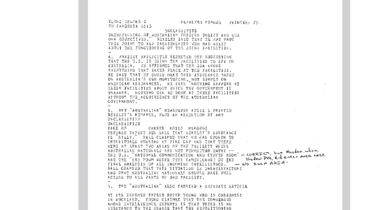 A mysterious addendum to a US diplomatic cable from April 1, 1985, confirms the existence of a secret room at the Pine Gap spy base near Alice Springs - a room Australians are not permitted to enter.