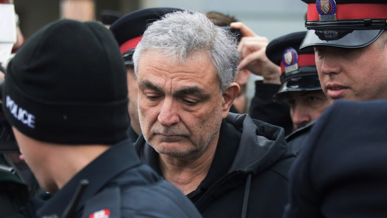 Vahe Minassian, father of Alek Minassian, leaves court in Toronto.