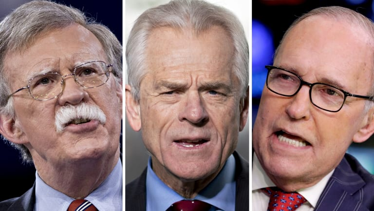 John Bolton, Peter Navarro and Larry Kudlow.