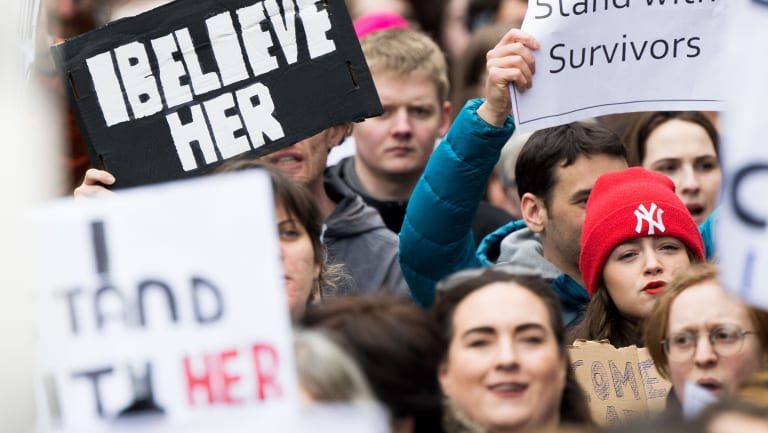 In March, people took part in a protest in Dublin in support of the woman at the centre of a rape trial after two Ireland ruby players were acquitted.