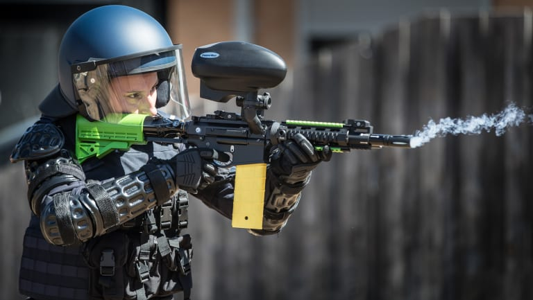 The new pepper ball semi-automatic rifle that will be used by Victoria Police.