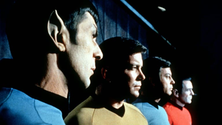 Mr Spock (Leonard Nimoy), pictured left, with Captain Kirk (William Shatner), Dr McCoy (DeForest Kelley) and Scotty (James Doohan) in Star Trek.