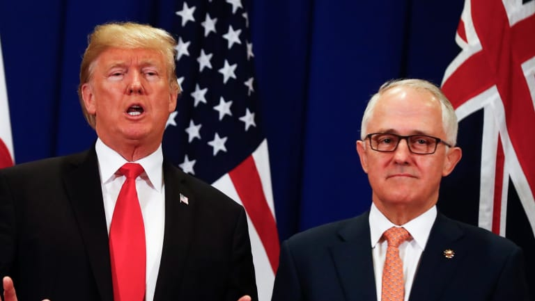 Prime Minister Malcolm Turnbull with United States of America President Donald Trump at the ASEAN summit in Manila, Philippines in November.