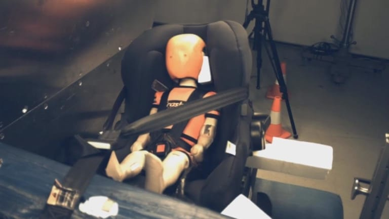 A Safety First Summit AP Isofix child car seat being tested at NSW Crashlab. The forward-facing chair got two stars and the rear-facing scored four stars.