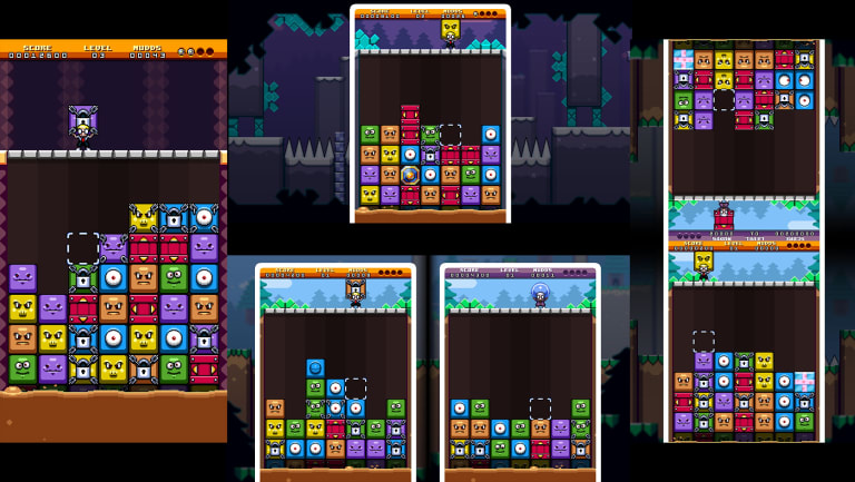 These four screens show Mudd Blocks running in portrait and landscape orientations, in both one and two player modes.