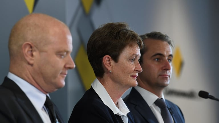 Outgoing CBA chief Ian Narev,  chairman Catherine Livingstone and incoming CEO Matt Comyn.