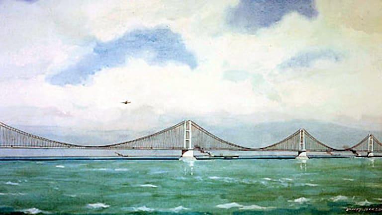Artist's impression of a proposed bridge across the English Channel, circa 1981