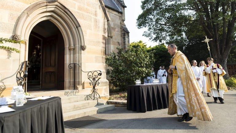 The funeral of Sir John Carrick at St Paul's Anglican Church, Burwood on Saturday.