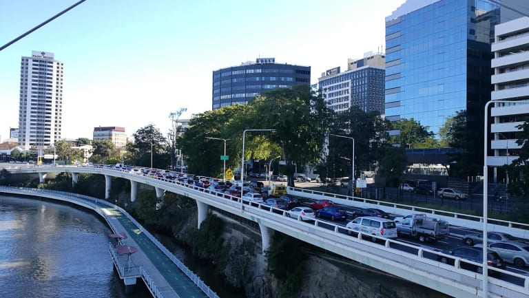 Traffic builds on Coronation Drive after the three-car accident.