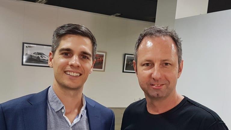 Leigh Travers of DigitalX Ltd (left) with MailGuard's Craig McDonald (right).