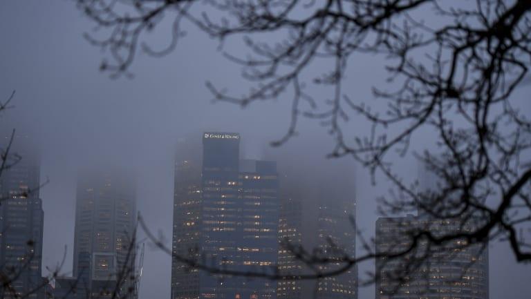 Melbourne's foggy morning.