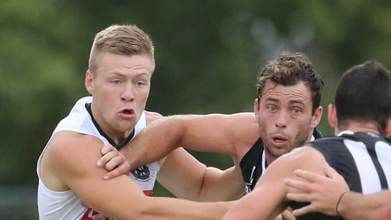 Jordan de Goey in action in the Pies' intra-club match.