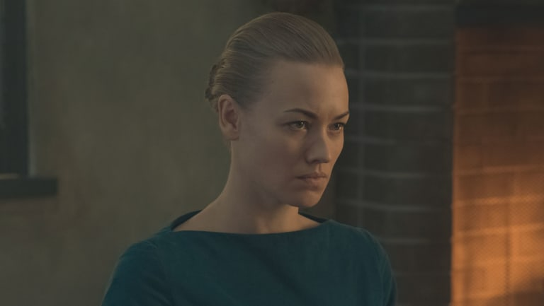 Yvonne Strahovski as her character Serena in The Handmaid's Tale.