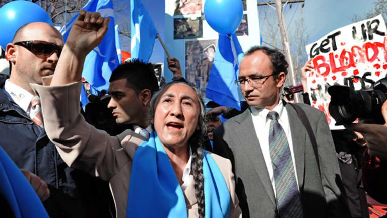 Exiled Uighur leader Rebiya Kadeer addresses a rally outside the Chinese Consulate in Toorak.